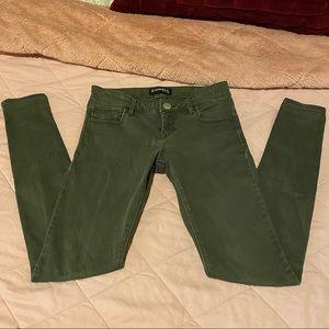 EXPRESS skinny jeans Army Green soft denim 00R